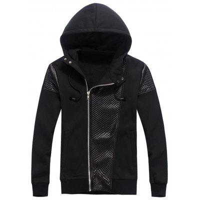 Embossed Faux Leather Panel Zip Up Hoodie