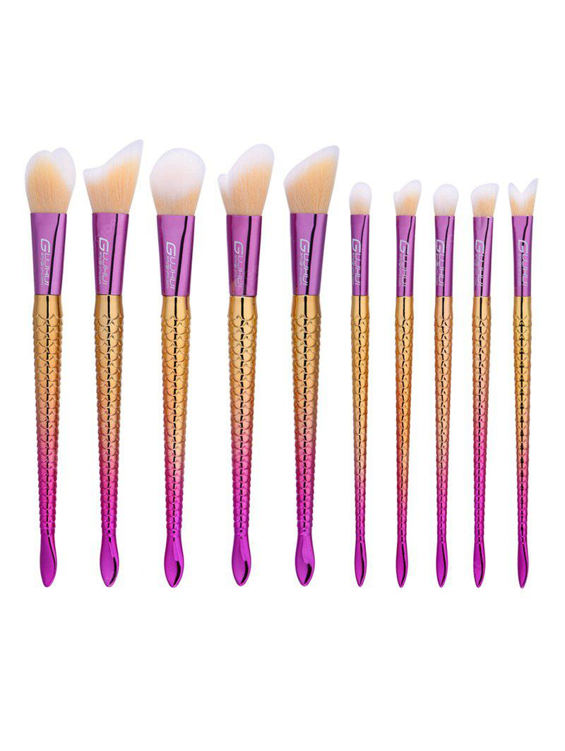 10Pcs Ombre Handle Mermaid Makeup Brushes Set