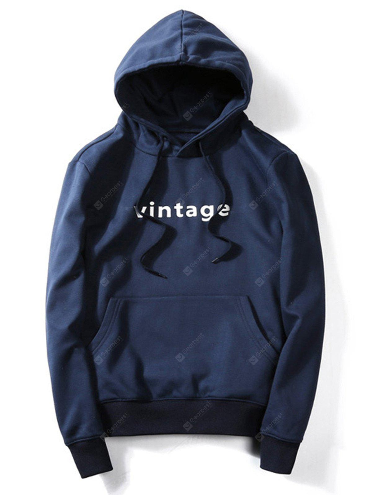 BLUE 2XL Drawstring Graphic Print Hoodie