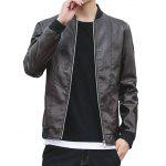 Stand Collar Faux Leather Zip Up Jacket - BROWN