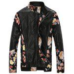 Stand Collar Flower Print Panel PU Leather Jacket - BLACK RED