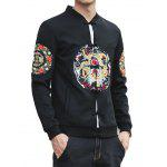 Stand Collar Chinoiserie Graphic Embroidered Jacket - BLACK
