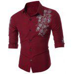 Slim Floral Print Long Sleeve Shirt - WINE RED