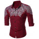 Printed Turn-down Collar Shirt - WINE RED