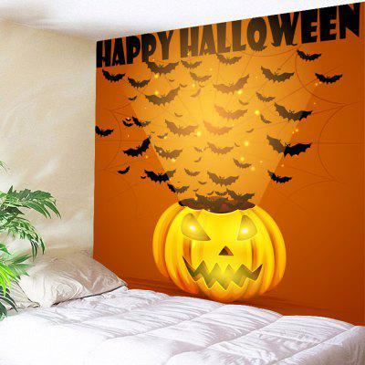 Buy ORANGE Pumpkin Bats Halloween Wall Hanging Tapestry for $13.66 in GearBest store