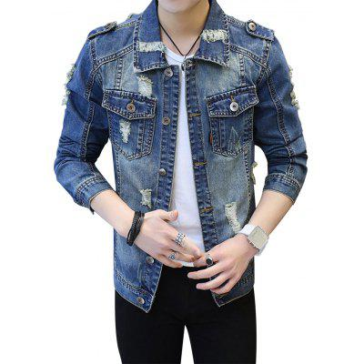 Buy DENIM BLUE L Epaulet Design Pockets Ripped Denim Jacket for $48.09 in GearBest store