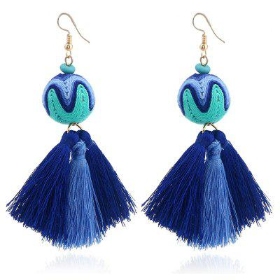 Ethnic Faux Turquoise Ball Tassel Earrings