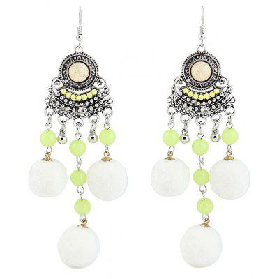 Beads Fuzzy Ball Chandelier Hook Earrings