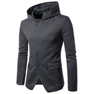 Cotton Blend Zip Up Hooded Casual Blazer