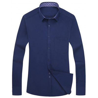Buy CADETBLUE 43 Slim Fit Button Up Long Sleeve Shirt for $19.04 in GearBest store