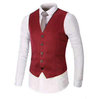 Faux Pocket Single Breasted Waistcoat