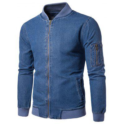 Ribbed Hem Zip Up Denim Jacket lux