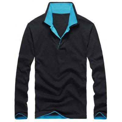 Buy BLACK Long Sleeve Double Collar Polo Shirt for $23.94 in GearBest store