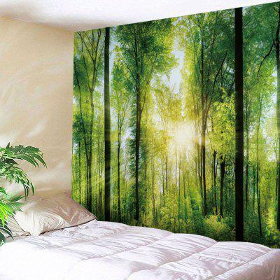 Buy GREEN Sunlight Forest Print Tapestry Wall Hanging for $22.30 in GearBest store