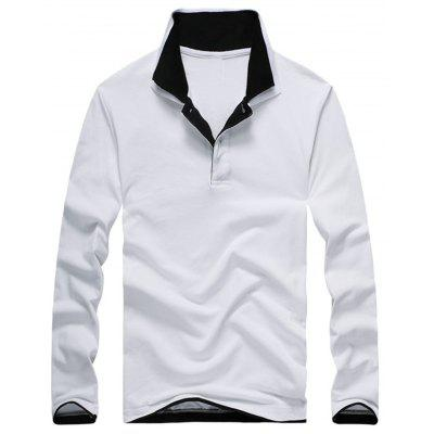 Buy WHITE L Long Sleeve Double Collar Polo Shirt for $23.94 in GearBest store