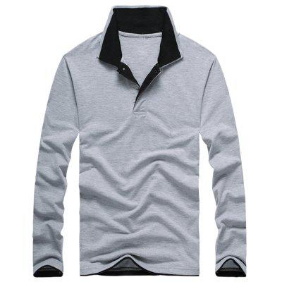 Buy GRAY 2XL Long Sleeve Double Collar Polo Shirt for $23.94 in GearBest store