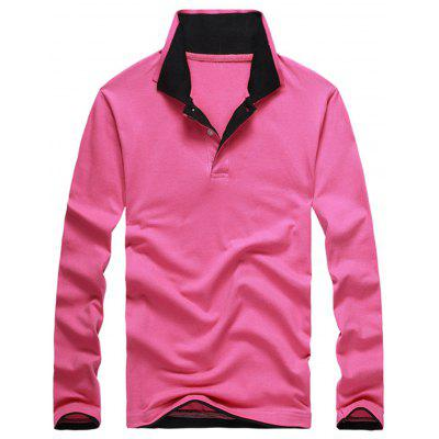 Buy PINK 3XL Long Sleeve Double Collar Polo Shirt for $23.94 in GearBest store