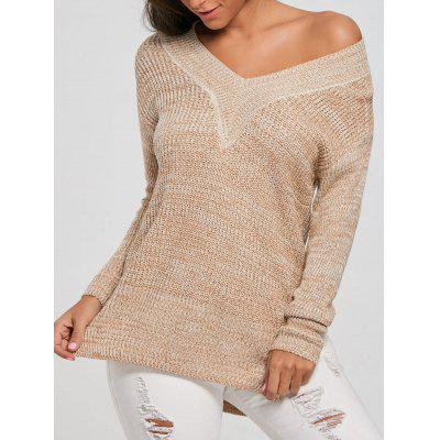 Long V Neck Knit Sweater