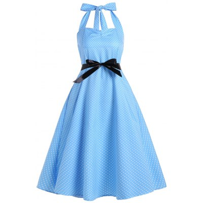 Buy LIGHT BLUE M Polka Dot Halter Empire Waist Vintage Dress for $23.85 in GearBest store