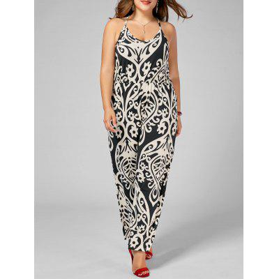High Waisted Printed Plus Size Jumpsuit