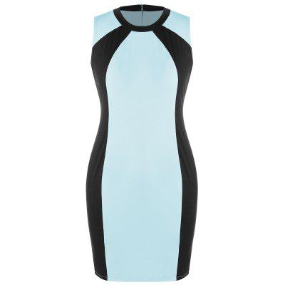 Buy LAKE BLUE 4XL Plus Size Color Block Sheath Pencil Dress for $19.70 in GearBest store