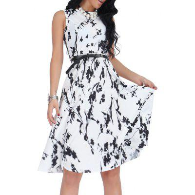 Floral Monochrome Belted Sleeveless DressWomens Dresses<br>Floral Monochrome Belted Sleeveless Dress<br><br>Dresses Length: Knee-Length<br>Material: Cotton, Polyester<br>Neckline: Round Collar<br>Package Contents: 1 x Dress  1 x Belt<br>Pattern Type: Floral<br>Season: Fall, Spring, Summer<br>Silhouette: A-Line<br>Sleeve Length: Sleeveless<br>Style: Casual<br>Weight: 0.3000kg<br>With Belt: Yes