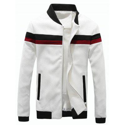 Stand Collar Waffle Knit Color Block Panel Jacket