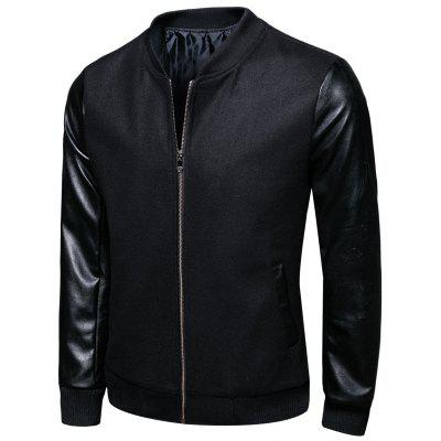 Stand Collar Woolen PU Leather Panel Jacket