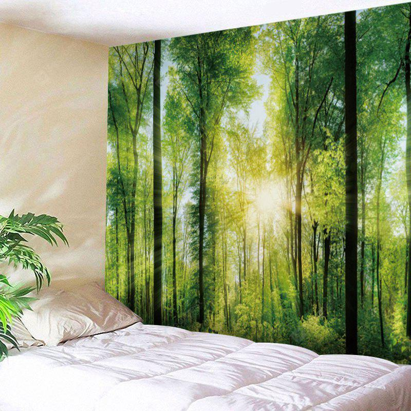 GREEN Sunlight Forest Print Tapestry Wall Hanging