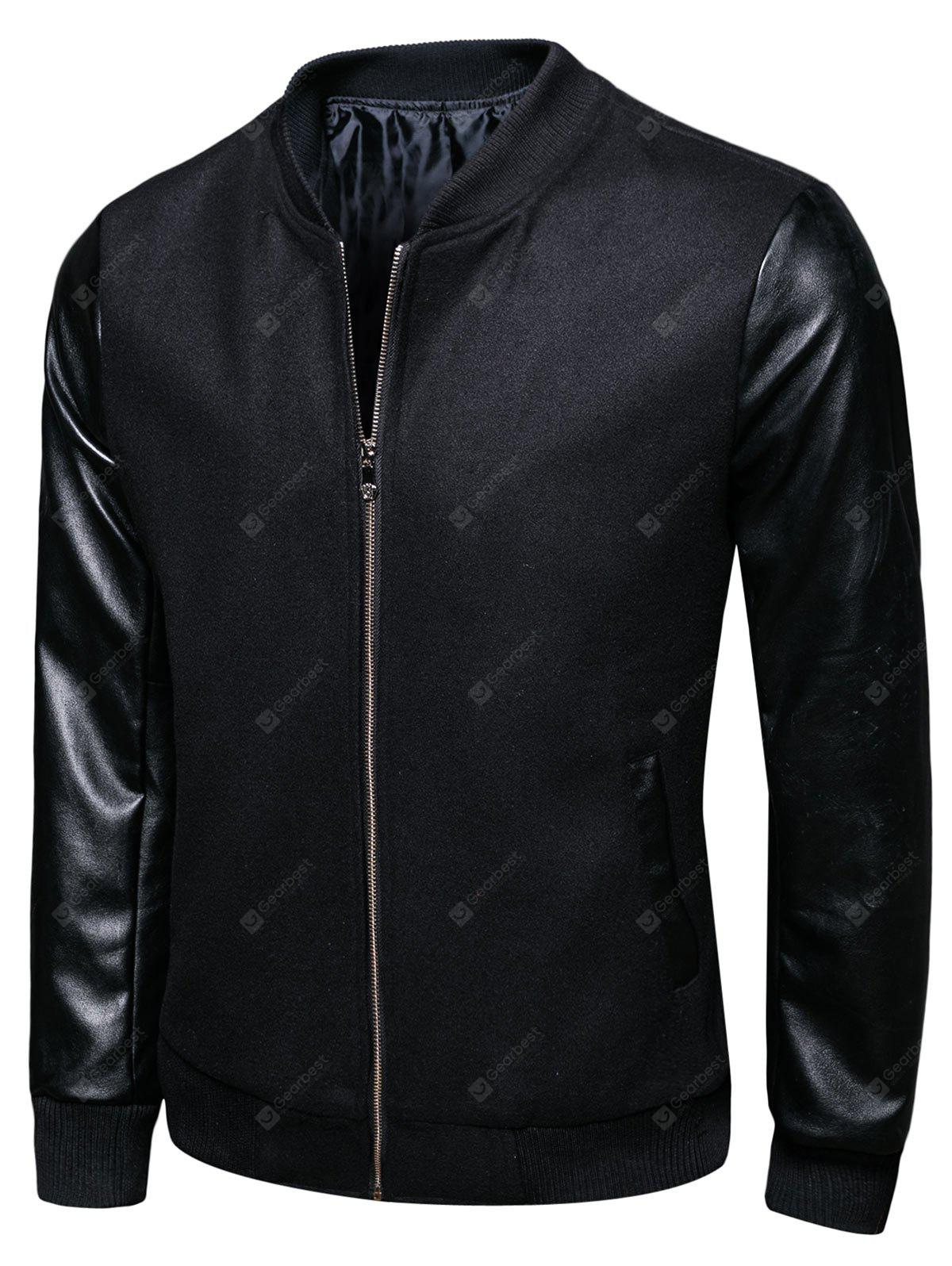 BLACK 2XL Stand Collar Woolen PU Leather Panel Jacket