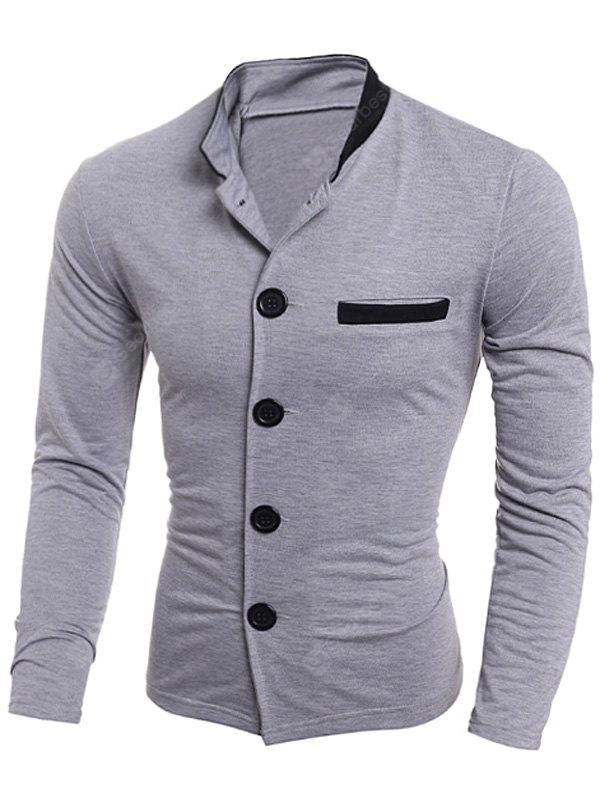 Stand Collar Edging Single Breasted Jacket