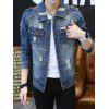 Epaulet Design Pockets Ripped Denim Jacket - JEANS AZUL