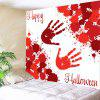 Halloween Blood Palm Pattern Wall Hanging Tapestry - RED WITH WHITE