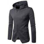 Cotton Blend Zip Up Hooded Casual Blazer - GRAY