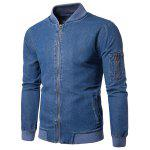 Ribbed Hem Zip Up Denim Jacket - BLUE
