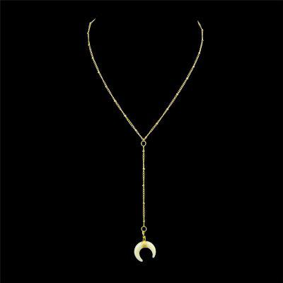 Buy GOLDEN Circle Moon Pendant Necklace for $2.88 in GearBest store