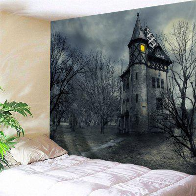 Buy GRAY Wall Hanging Art Decor Halloween Castal Print Tapestry for $12.32 in GearBest store