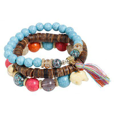 Jade Elephant Tassel Wooden Beaded Bracelet Set
