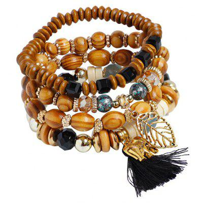Elephant Tassel Leaf Wooden Beaded Bracelet Set