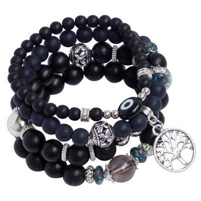 Buy BLACK Tree of Life Charm Beaded Bracelet Set for $4.35 in GearBest store