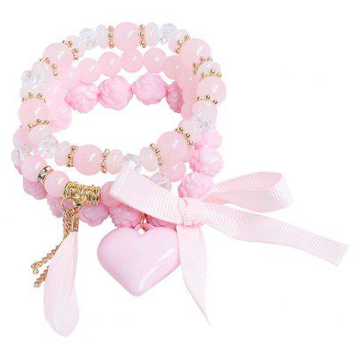 Buy PINK Heart Feather Ribbon Charm Beaded Bracelet Set for $4.32 in GearBest store