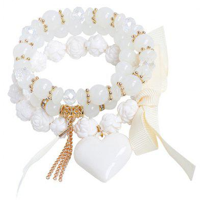Buy WHITE Heart Feather Ribbon Charm Beaded Bracelet Set for $4.32 in GearBest store