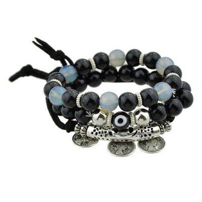 Eye Coin Charm Beaded Bracelet Set