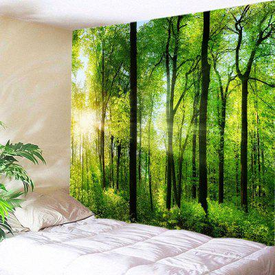 Buy GREEN Wall Hanging Art Decor Sun Forest Print Tapestry for $20.01 in GearBest store
