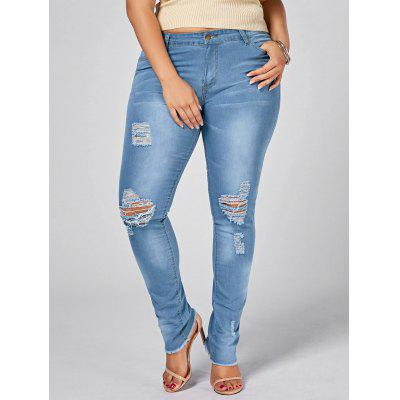 Plus Size Ripped Light Wash Jeans