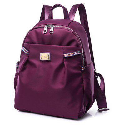 Ethnic Trim Nylon BackpackBackpacks<br>Ethnic Trim Nylon Backpack<br><br>Closure Type: Zipper<br>Gender: For Women<br>Handbag Size: Medium(30-50cm)<br>Handbag Type: Backpack<br>Main Material: Nylon<br>Occasion: Versatile<br>Package Contents: 1 x Backpack<br>Pattern Type: Solid<br>Size(CM)(L*W*H): 24*14*34<br>Style: Casual<br>Weight: 1.2000kg