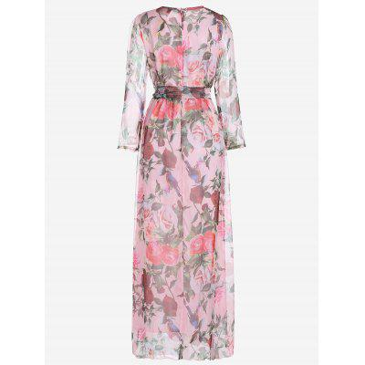 Long Sleeve Floral Belted Maxi DressMaxi Dresses<br>Long Sleeve Floral Belted Maxi Dress<br><br>Dresses Length: Floor-Length<br>Fabric Type: Chiffon<br>Material: Polyester<br>Neckline: Round Collar<br>Package Contents: 1 x Dress  1 x Belt<br>Pattern Type: Floral<br>Season: Fall, Spring<br>Sleeve Length: Long Sleeves<br>Weight: 0.3250kg<br>With Belt: Yes