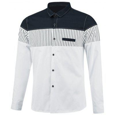 Faux Pocket Stripe Insert Color Block Shirt