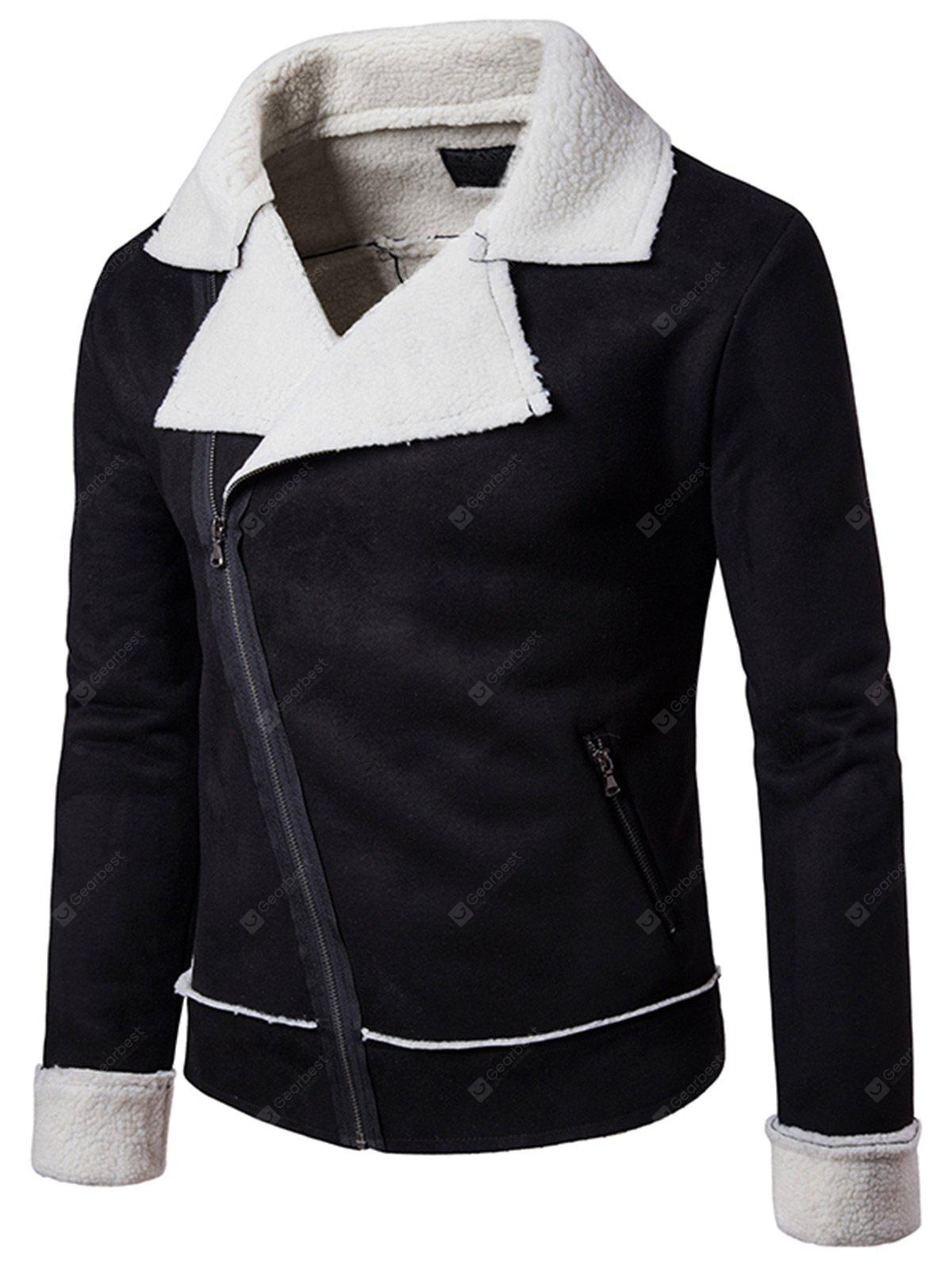 Suede Zip Faux Shearling Jacket