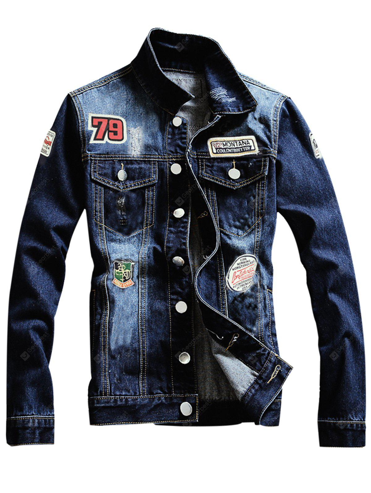 Graphic Appliques Single Breasted Ripped Denim Jacket